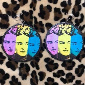 Frida Kahlo handmade round wooden drop earrings